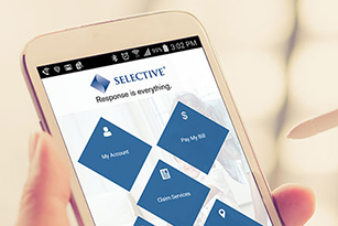 File a claim, upload pictures or pay a bill via the Selective Insurance mobile app.